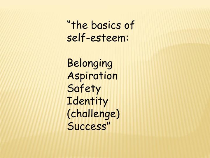"""the basics of self-esteem:"