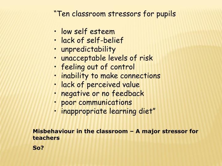 """""""Ten classroom stressors for pupils"""