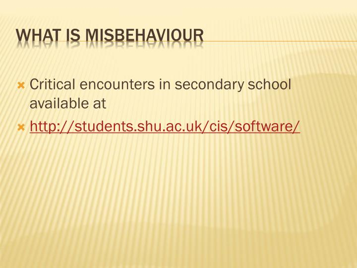Critical encounters in secondary school available at
