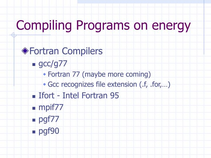 Compiling Programs on energy