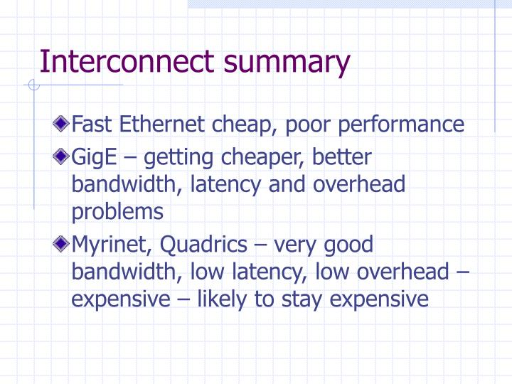 Interconnect summary