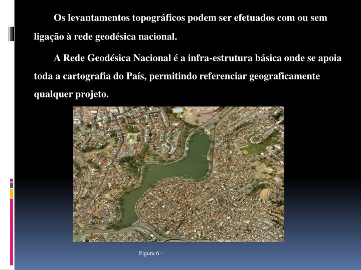 Os levantamentos topográficos podem ser efetuados com ou sem ligação à rede geodésica nacional.