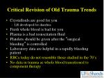 critical revision of old trauma trends