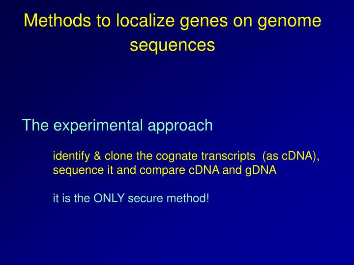 Methods to localize genes on genome sequences