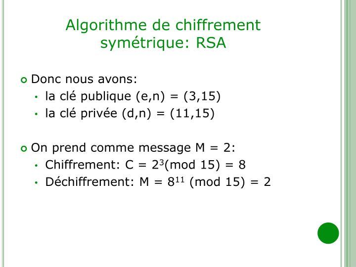 Algorithme de chiffrement symétrique: RSA
