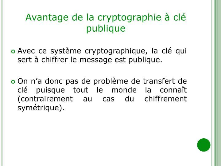 Avantage de la cryptographie à clé publique