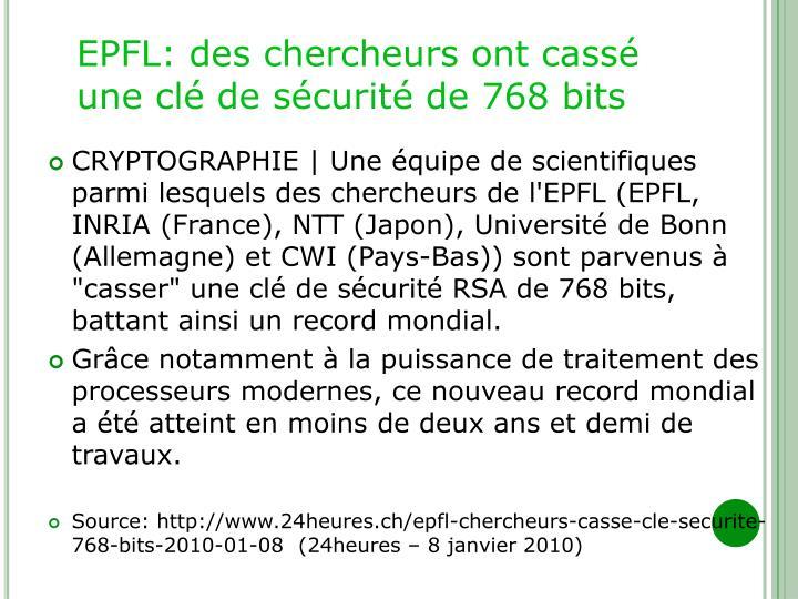 EPFL: des chercheurs ont cassé une clé de sécurité de 768 bits