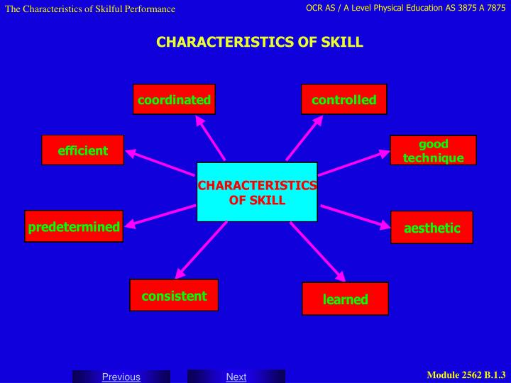 The Characteristics of Skilful Performance