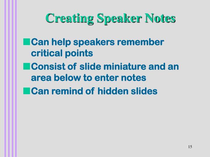 Creating Speaker Notes