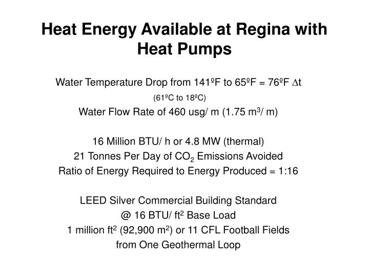 Heat Energy Available at Regina with Heat Pumps