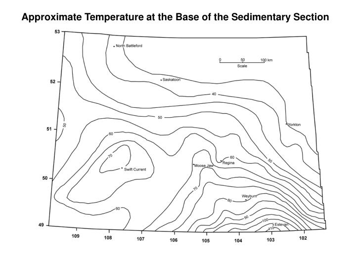 Approximate Temperature at the Base of the Sedimentary Section