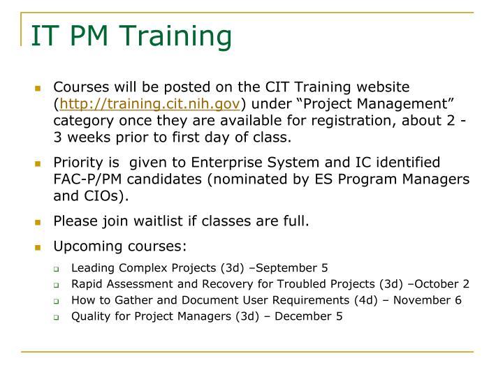 IT PM Training