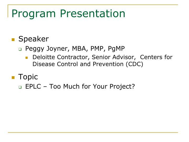 Program Presentation