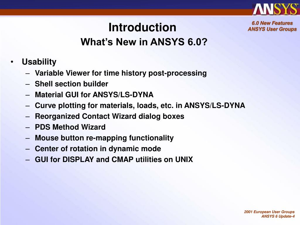 PPT - ANSYS 6 0 New Features PowerPoint Presentation - ID:4586373