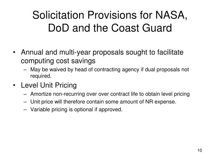 Solicitation Provisions for NASA,