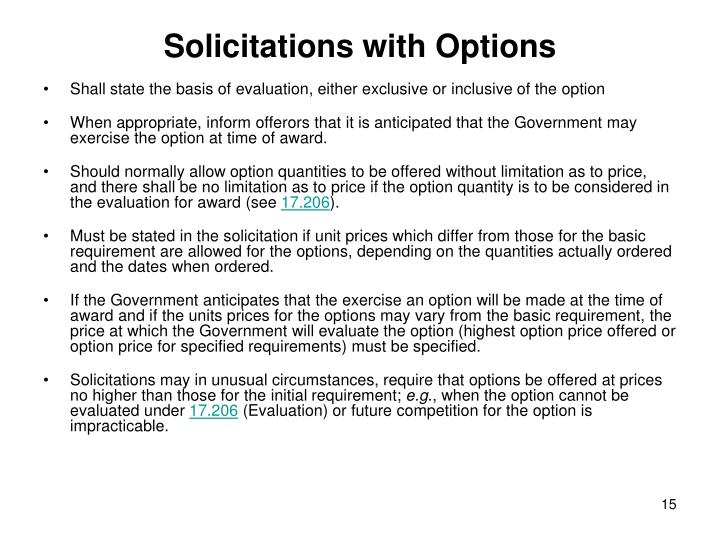 Solicitations with Options