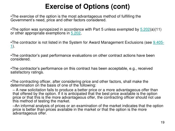 Exercise of Options (cont)