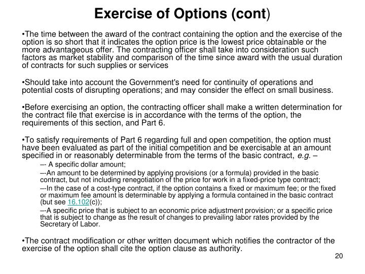 Exercise of Options (cont