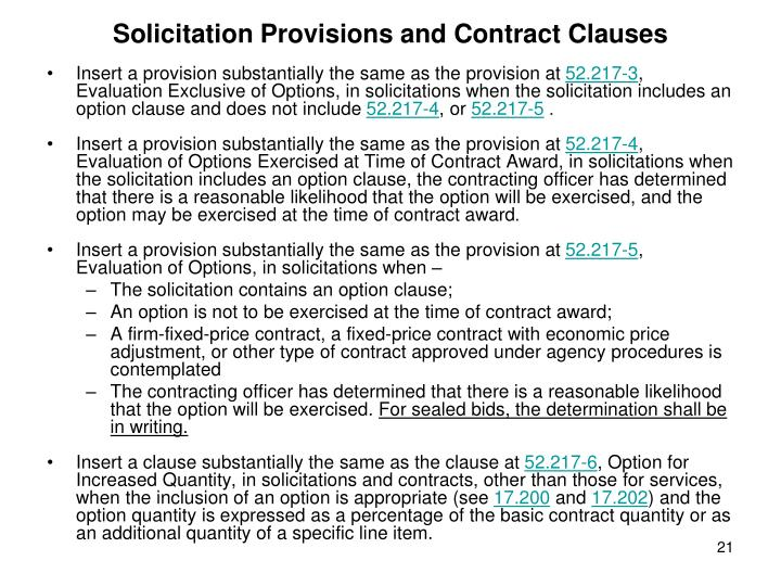Solicitation Provisions and Contract Clauses