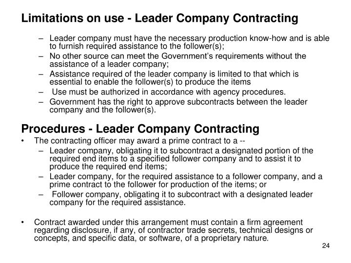 Limitations on use - Leader Company Contracting