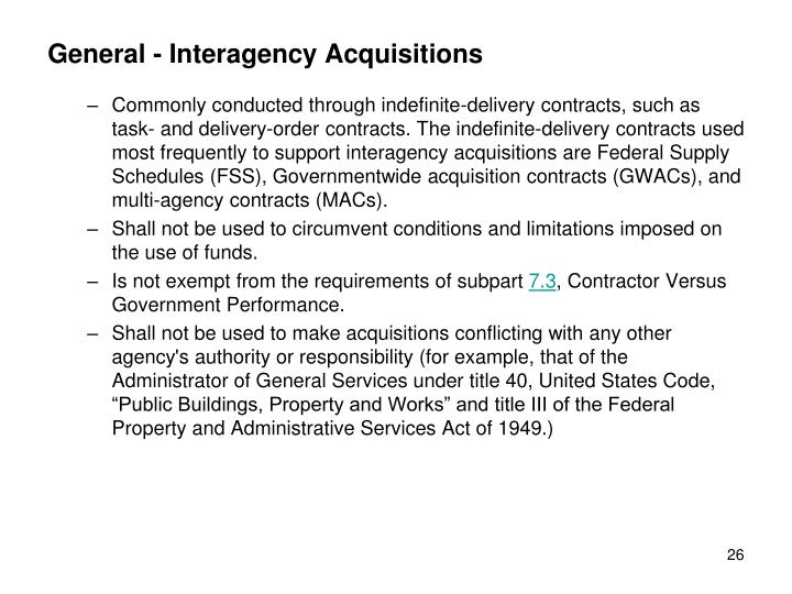 General - Interagency Acquisitions