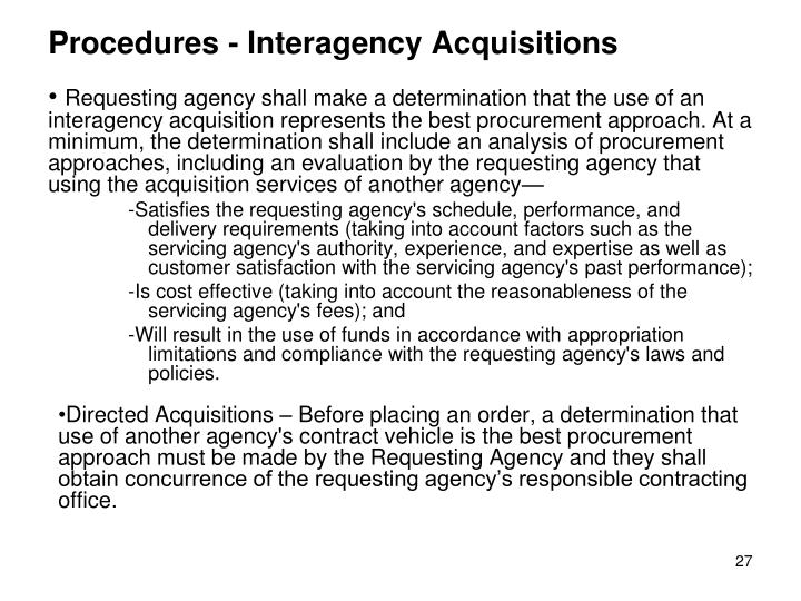 Procedures - Interagency Acquisitions