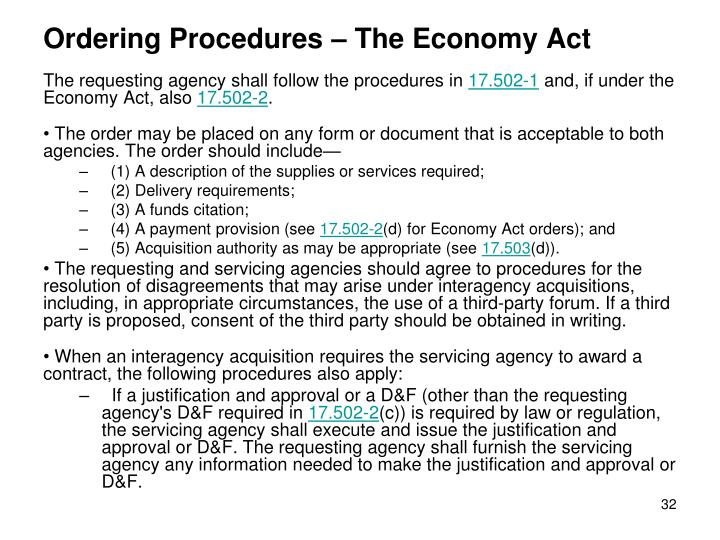 Ordering Procedures – The Economy Act