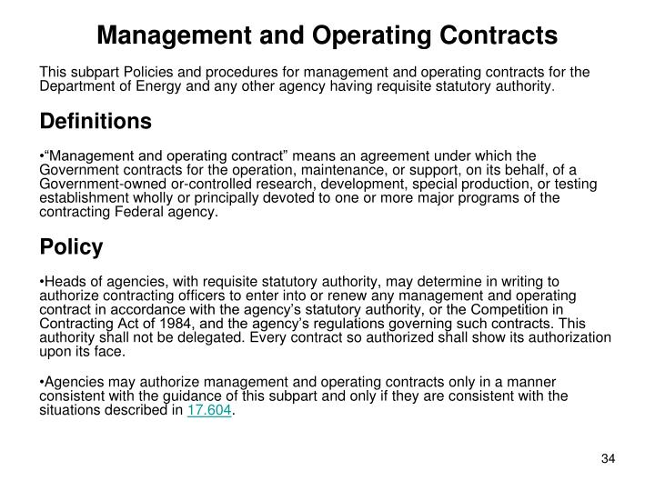 Management and Operating Contracts