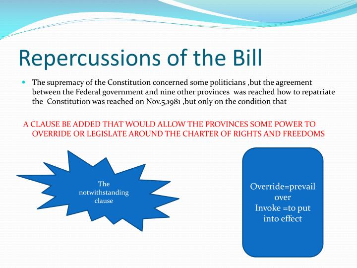 Repercussions of the Bill