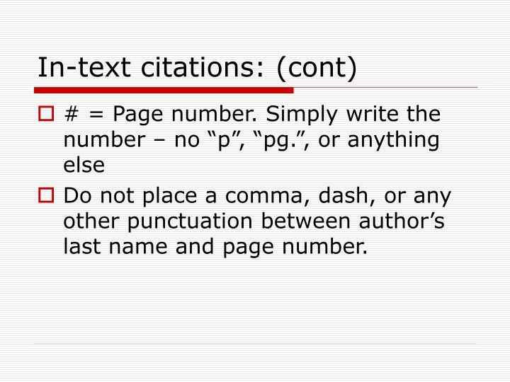 In-text citations: (cont)