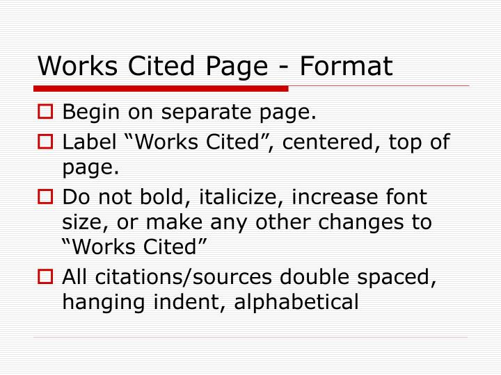 Works Cited Page - Format