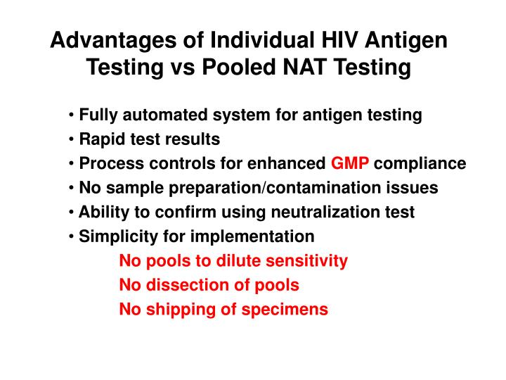 Advantages of Individual HIV Antigen Testing vs Pooled NAT Testing