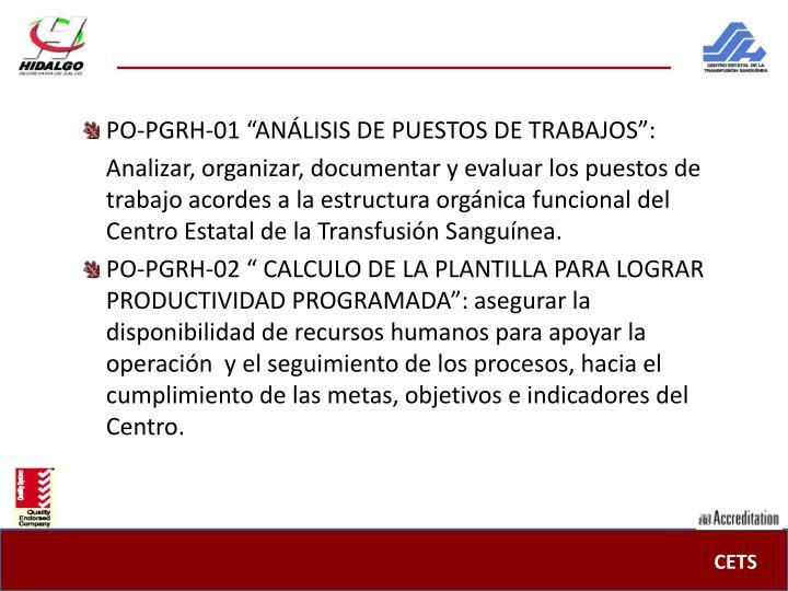 """PO-PGRH-01 """"ANÁLISIS DE PUESTOS DE TRABAJOS"""":"""