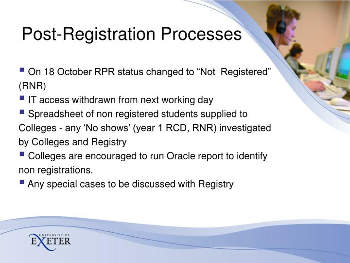 Post-Registration Processes