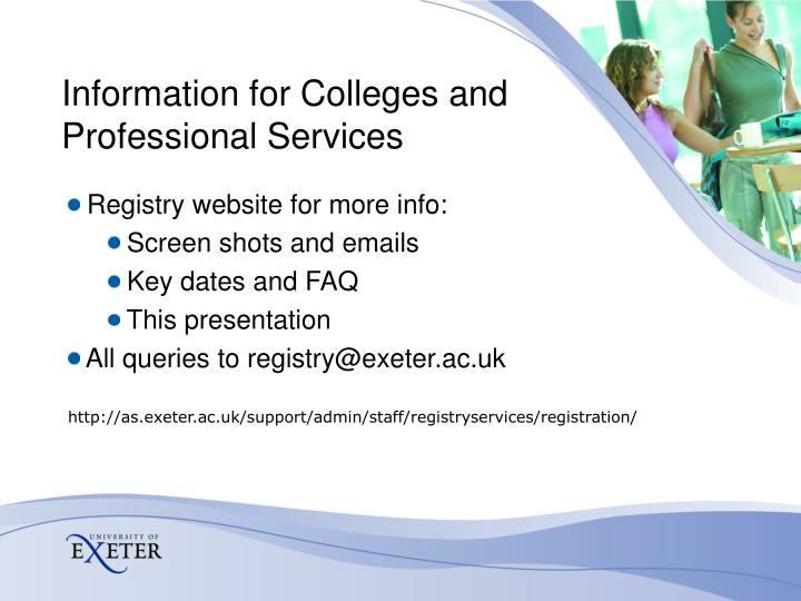 Information for Colleges and Professional Services