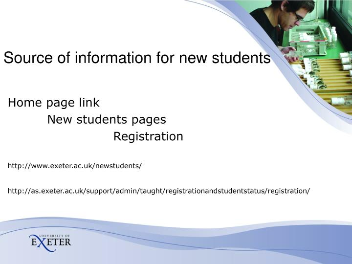 Source of information for new students