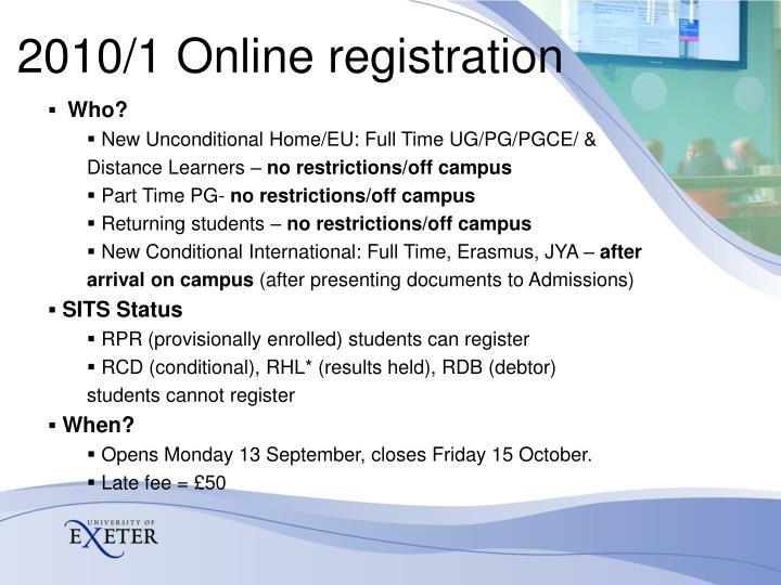 2010/1 Online registration