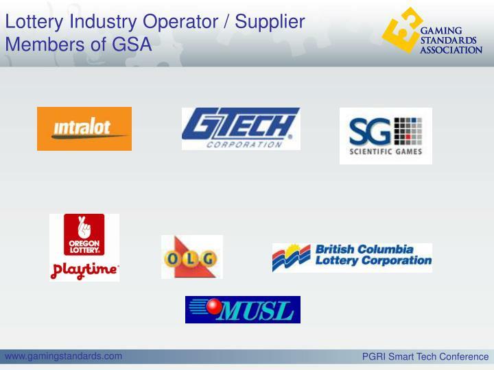Lottery industry operator supplier members of gsa