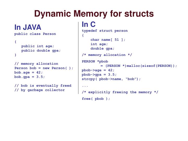 Dynamic Memory for structs