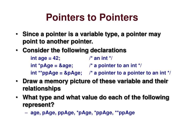 Pointers to pointers