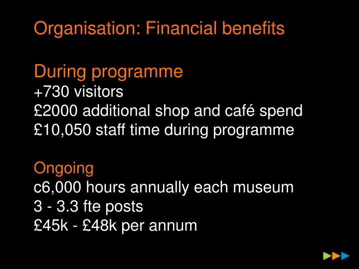 Organisation: Financial benefits