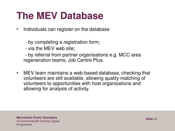 The MEV Database