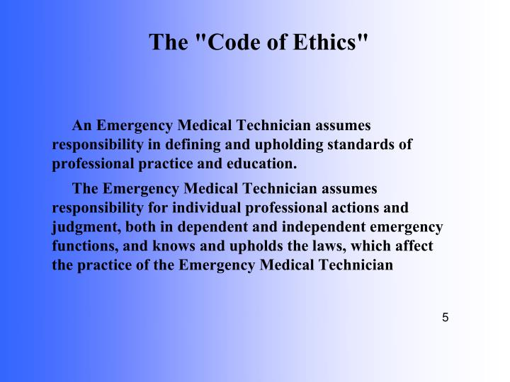 """The """"Code of Ethics"""""""