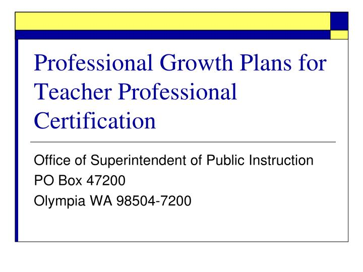 professional growth plans for teacher professional certification n.
