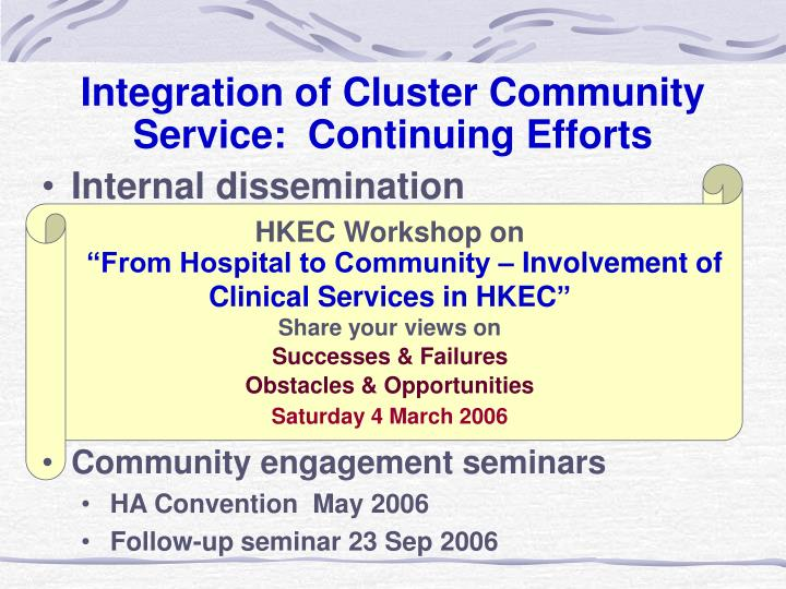 Integration of Cluster Community Service:  Continuing Efforts