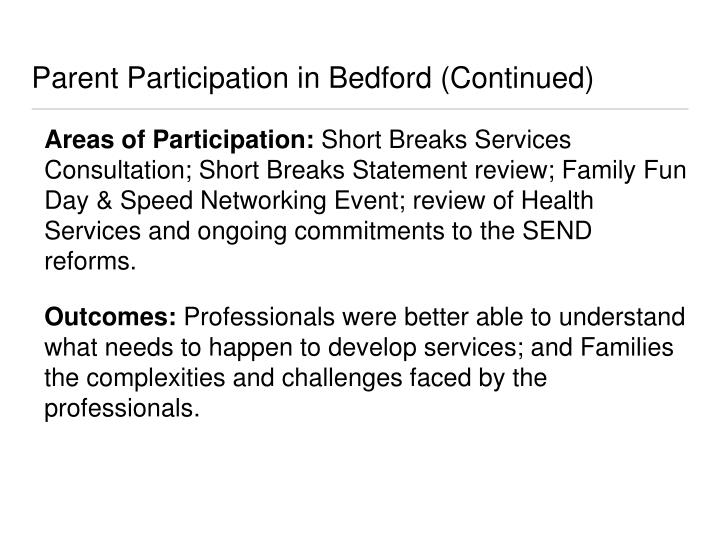 Parent Participation in Bedford (Continued)