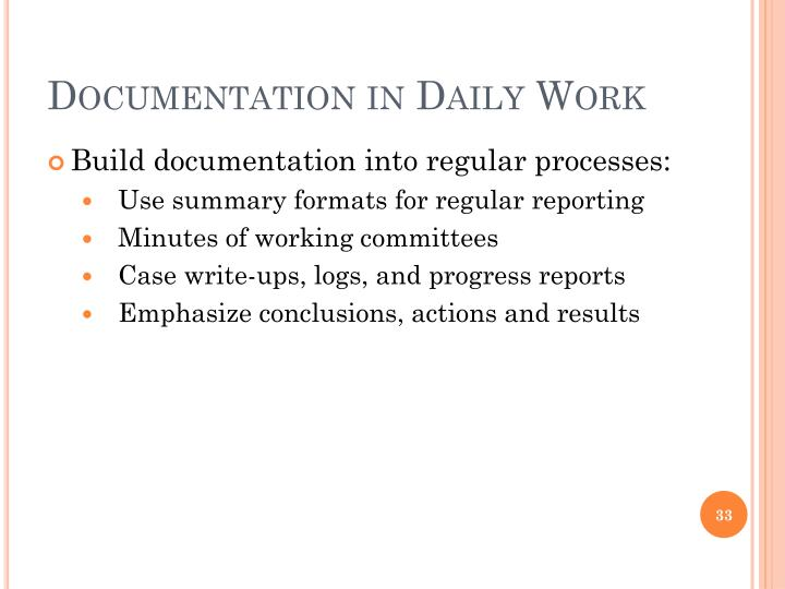 Documentation in Daily Work