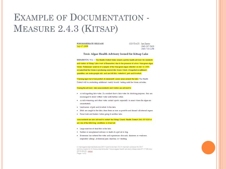 Example of Documentation - Measure 2.4.3 (Kitsap)