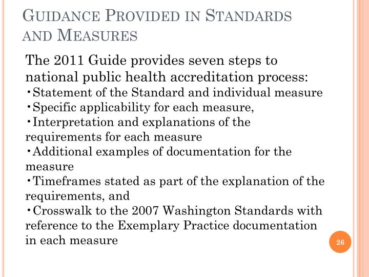 Guidance Provided in Standards and Measures