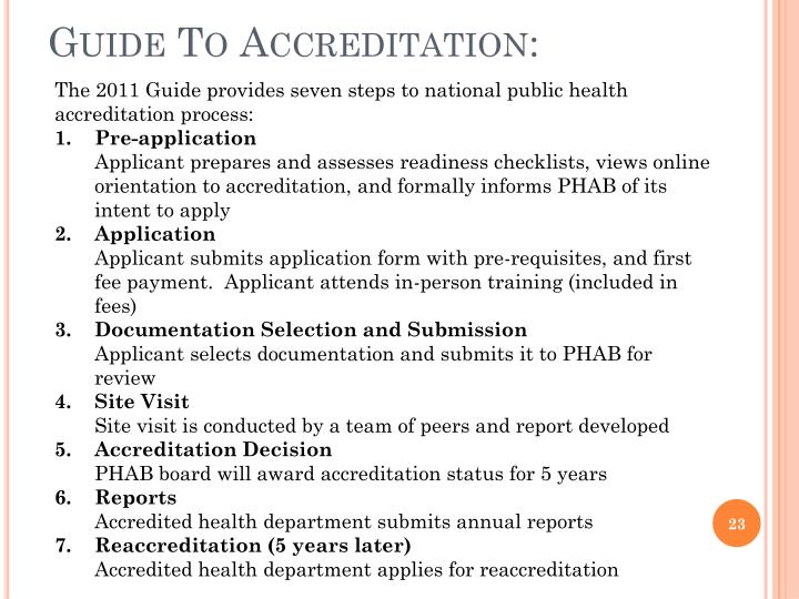 Guide To Accreditation: